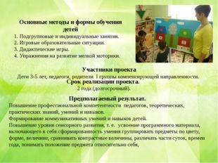 Основные методы и формы обучения детей 1. Подгрупповые и индивидуальные занят