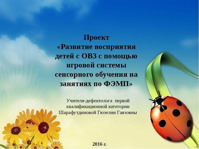 2016 г. Проект «Развитие восприятия детей с ОВЗ с помощью игровой системы се...