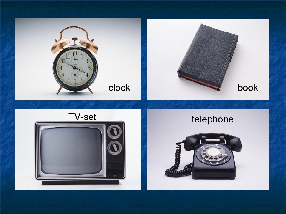 clock book TV-set telephone