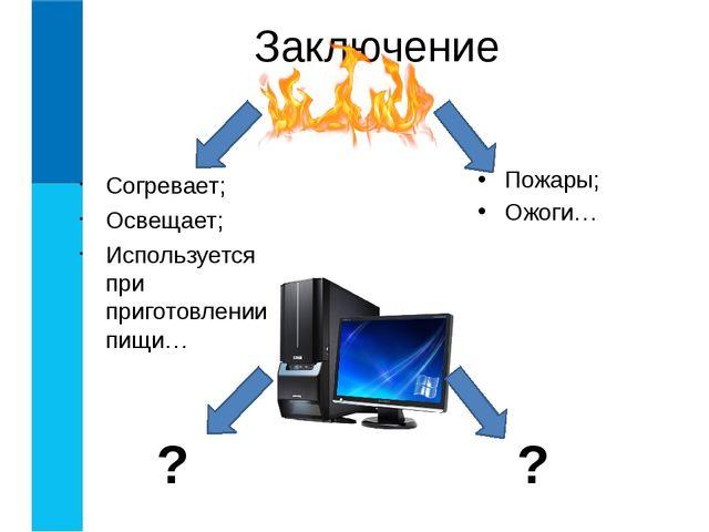 Согревает; Освещает; Используется при приготовлении пищи… Заключение Пожары;...