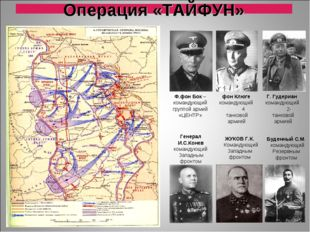 Операция «ТАЙФУН» Генерал И.С.Конев командующий Западным фронтом ЖУКОВ Г.К. К