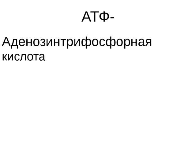 АТФ- Аденозинтрифосфорная кислота