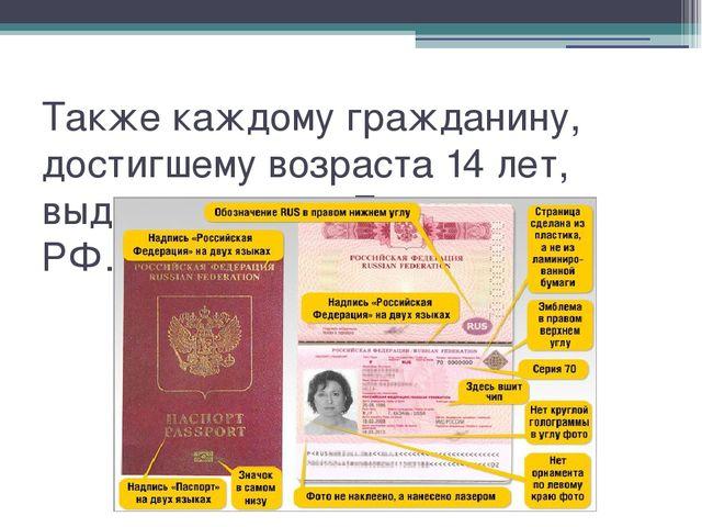 Также каждому гражданину, достигшему возраста 14 лет, выдают паспорт Граждани...