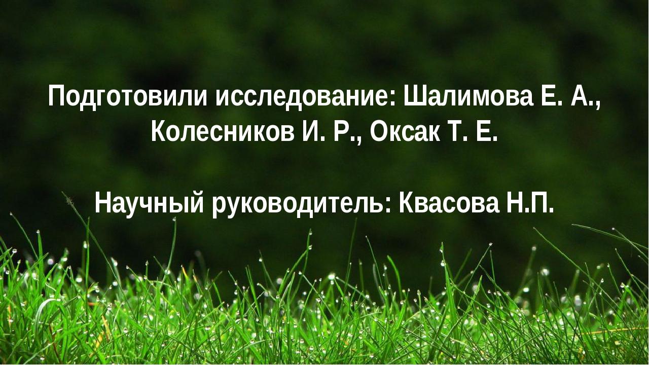 Подготовили исследование: Шалимова Е. А., Колесников И. Р., Оксак Т. Е. Научн...