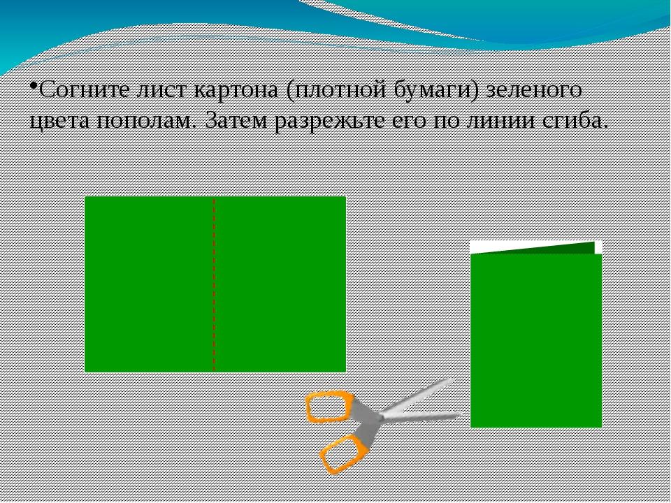 Согните лист картона (плотной бумаги) зеленого цвета пополам. Затем разрежьте...