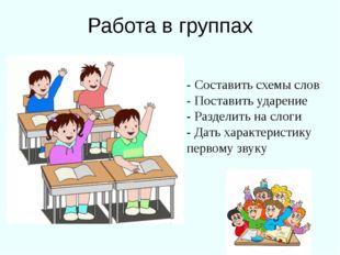 Работа в группах - Составить схемы слов - Поставить ударение - Разделить на с