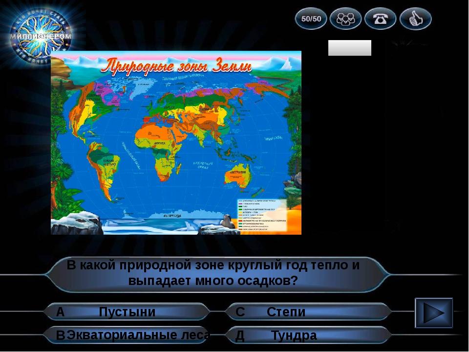 1 2 3 4 5 6 7 8 9 10 В какой природной зоне круглый год тепло и выпадает мног...