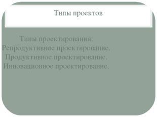 Типы проектов Типы проектирования: Репродуктивное проектирование. Продуктивно