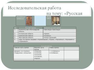 Исследовательская работа на тему: «Русская прялка» № Русская прялка Название
