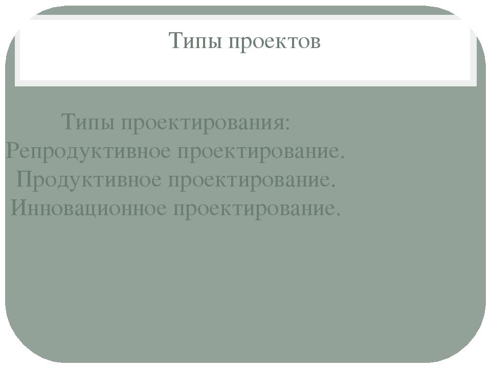 Типы проектов Типы проектирования: Репродуктивное проектирование. Продуктивно...