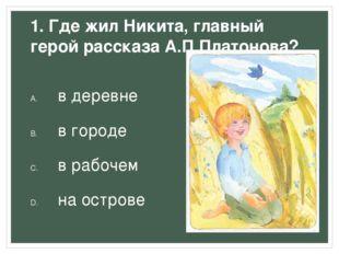 1. Где жил Никита, главный герой рассказа А.П.Платонова? в деревне в городе в