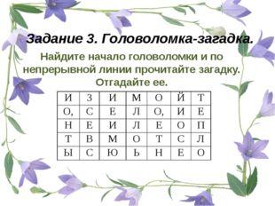 Задание 3. Головоломка-загадка. Найдите начало головоломки и по непрерывной л