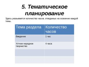 5. Тематическое планирование Здесь указывается количество часов, отводимых на