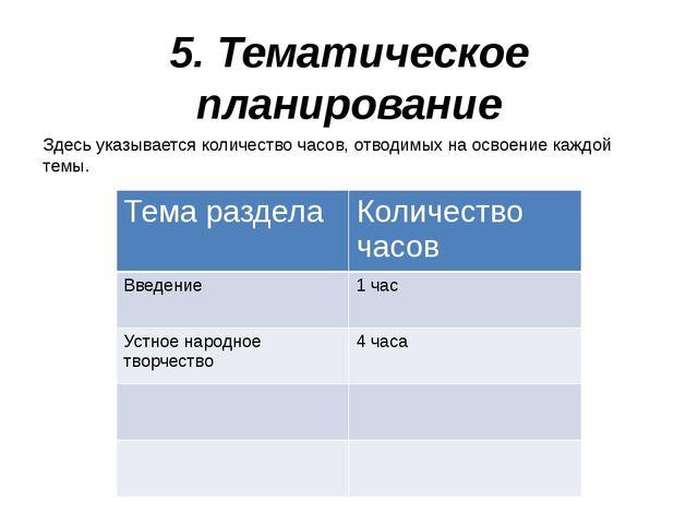 5. Тематическое планирование Здесь указывается количество часов, отводимых на...