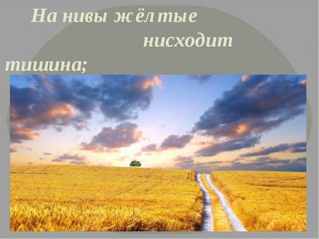 На нивы жёлтые нисходит тишина;