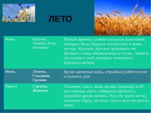 ЛЕТО Июнь Кресень, Червень,Изок, Разноцвет Изокомдревние славяне называли куз