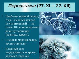 Первозимье(27. XI— 22. XII) Наиболее темный период года. Снежный покров незн