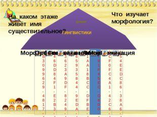 На каком этаже живёт имя существительное? Что изучает морфология? ЛИНГВИСТИКИ