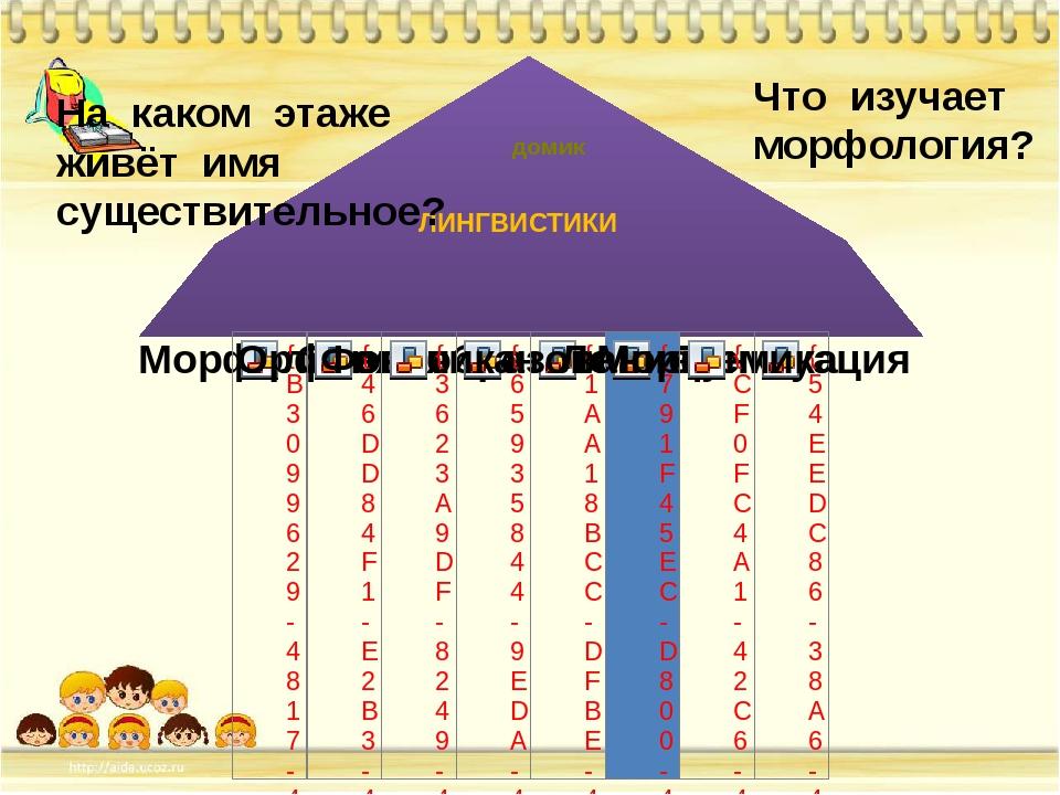 На каком этаже живёт имя существительное? Что изучает морфология? ЛИНГВИСТИКИ...