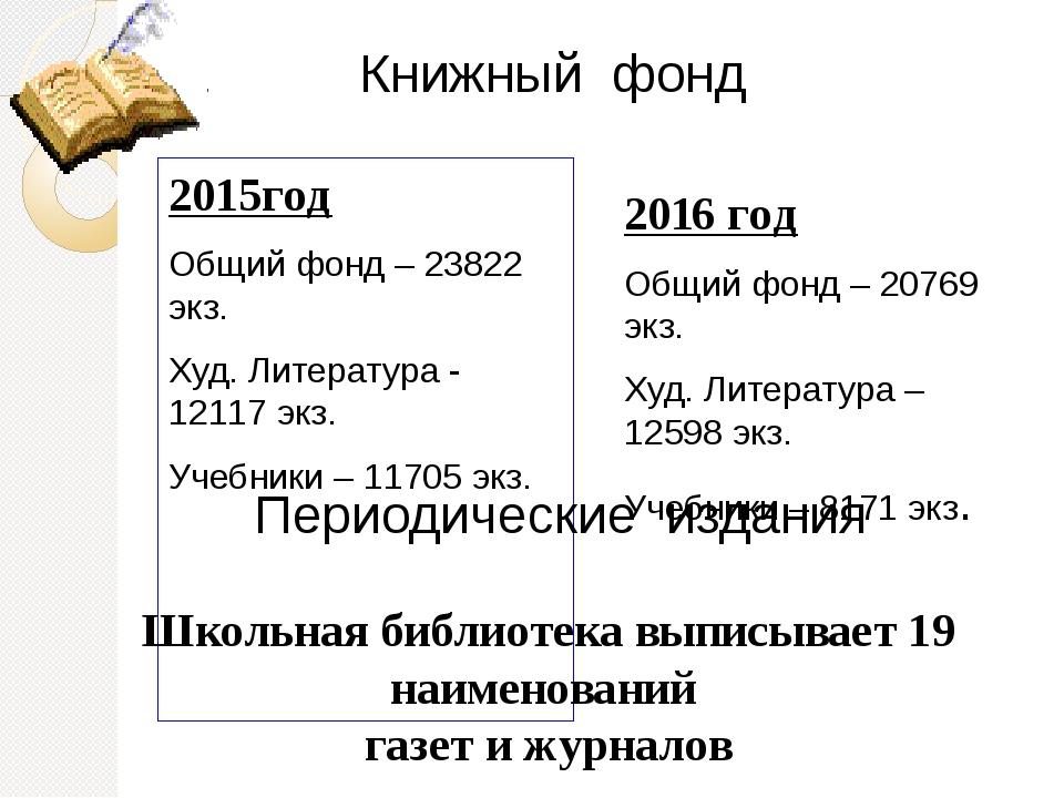 2015год Общий фонд – 23822 экз. Худ. Литература - 12117 экз. Учебники – 11705...