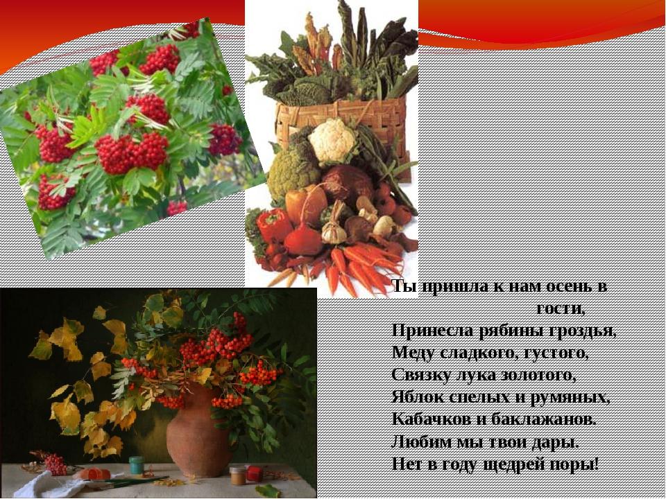 Ты пришла к нам осень в гости, Принесла рябины гроздья, Меду сладкого, густог...
