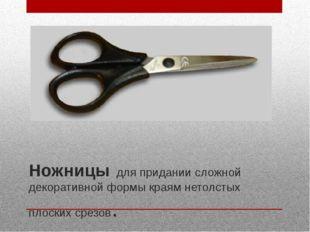 Ножницы для придании сложной декоративной формы краям нетолстых плоских срезо