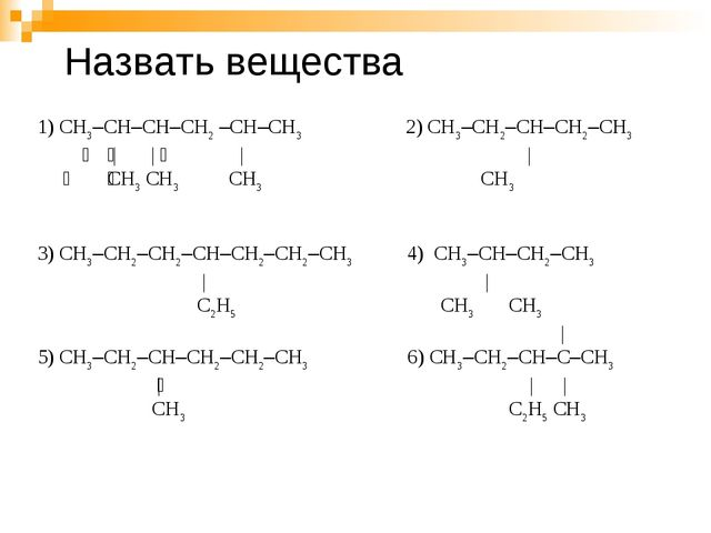 1) СН3–СН–СН–СН2 –СН–СН3 2) СН3–СН2–СН–СН2–СН3   | |  | |  СН3 СН3...