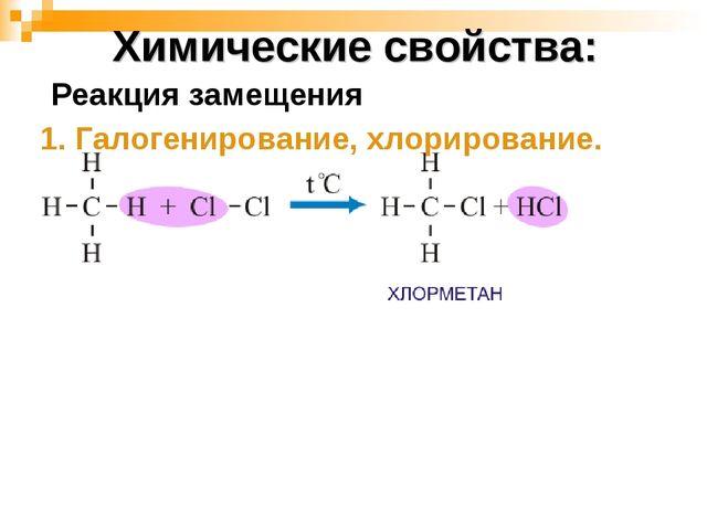 Химические свойства: 1. Галогенирование, хлорирование. Реакция замещения