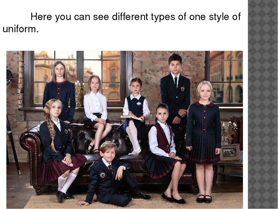 Here you can see different types of one style of uniform.