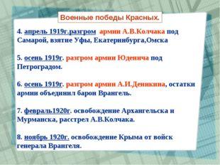 4. апрель 1919г.разгром армии А.В.Колчака под Самарой, взятие Уфы, Екатеринбу