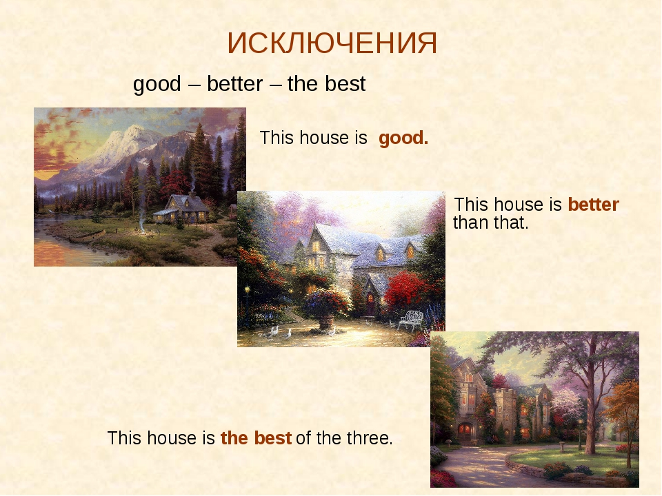 * ИСКЛЮЧЕНИЯ good – better – the best  This house is good.  This house...
