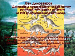 Век динозавров Динозавры представляют собой группу рептилий, обитавших на Зем