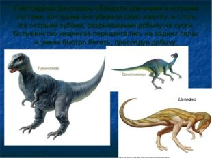 Плотоядные динозавры обладали длинными и острыми когтями, которыми они убивал