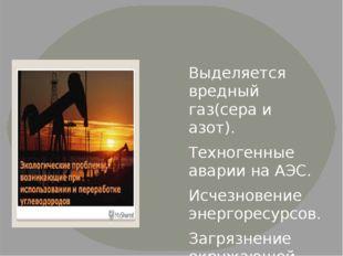 Выделяется вредный газ(сера и азот). Техногенные аварии на АЭС. Исчезновение