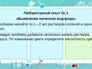 Лабораторный опыт № 1 «Выявление катионов водорода» В пробирки налейте по 1—