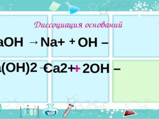 Диссоциация оснований + NaOH → Na+ OH – 2OH – Ca(OH)2→ Ca2+
