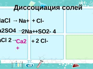 Ca2+ Диссоциация солей NaCl → Na+ 2Na+ + + + Cl- Na2SO4 → SO2- 4 CaCl 2→ 2 Cl-