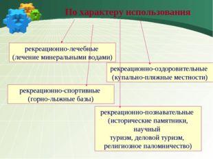 По характеру использования рекреационно-лечебные (лечение минеральными водам