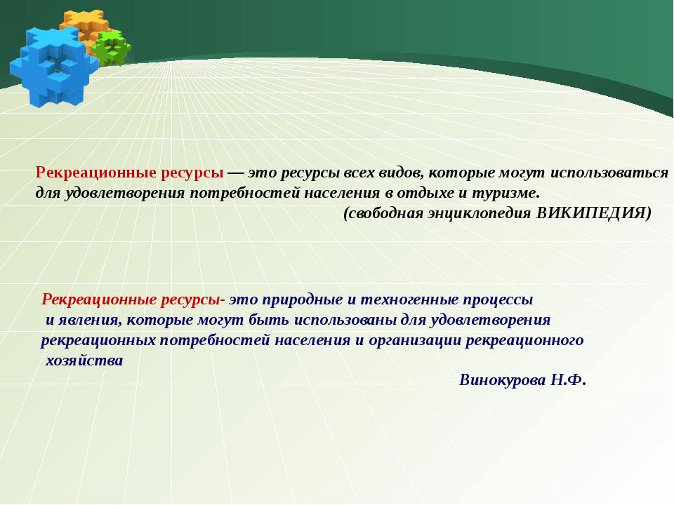 Рекреационные ресурсы — это ресурсы всех видов, которые могут использоваться...