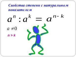 Свойства степени с натуральным показателем n > k