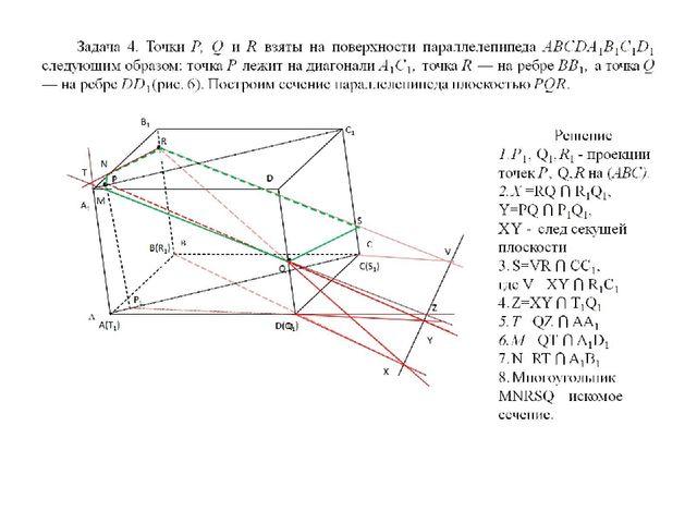 Задача 4. Точки Р, Q и R взяты на поверхности параллелепипеда ABCDA1B1C1D1 сл...