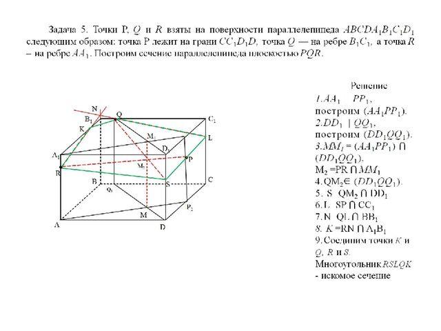 Задача 5. Точки Р, Q и R взяты на поверхности параллелепипеда ABCDA1B1C1D1 сл...