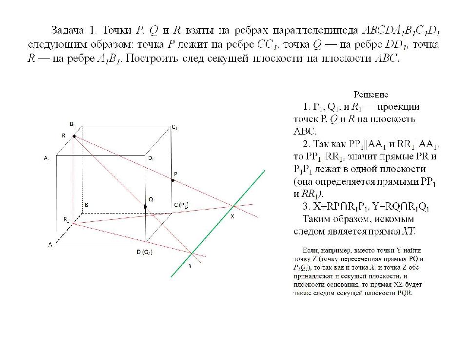 Задача 1. Точки Р, Q и R взяты на ребрах параллелепипеда ABCDA1B1C1D1 следующ...