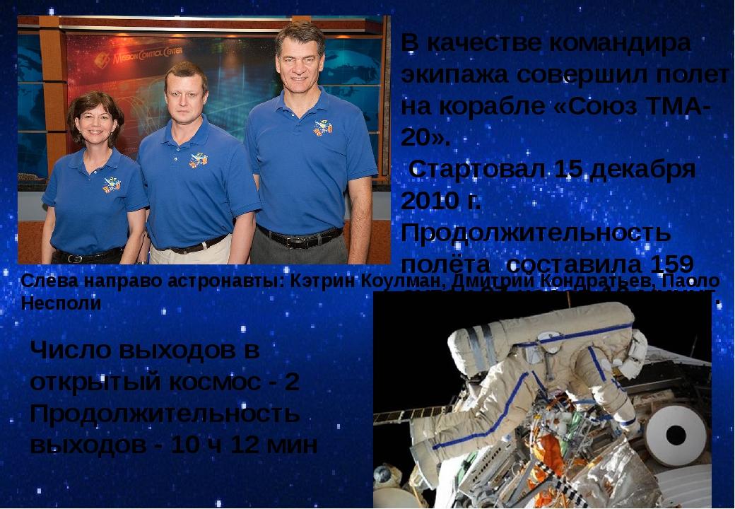 Слева направо астронавты: Кэтрин Коулман, Дмитрий Кондратьев, Паоло Несполи В...