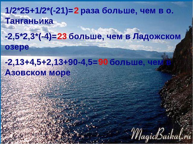 1/2*25+1/2*(-21)= раза больше, чем в о. Танганьика -2,5*2,3*(-4)= больше, чем...
