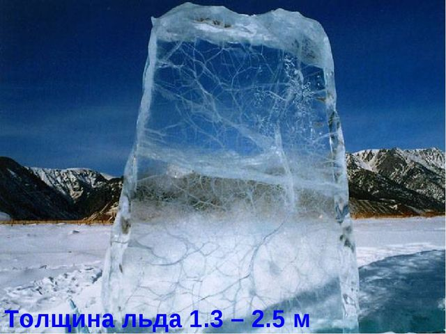 Толщина льда 1.3 – 2.5 м