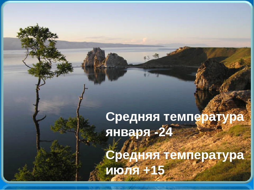 Средняя температура января -24 Средняя температура июля +15