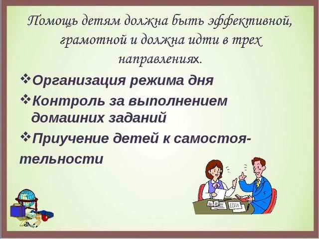 Организация режима дня Контроль за выполнением домашних заданий Приучение дет...