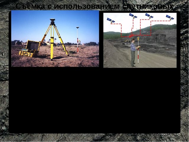 Съемка с использованием спутниковых технологий Применяются при съемке любых д...