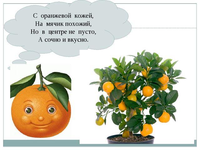 С оранжевой кожей, На мячик похожий, Но в центре не пусто, А сочно и вкусно.
